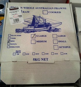 Whole Australian King Prawns cooked - box from Costco seafood